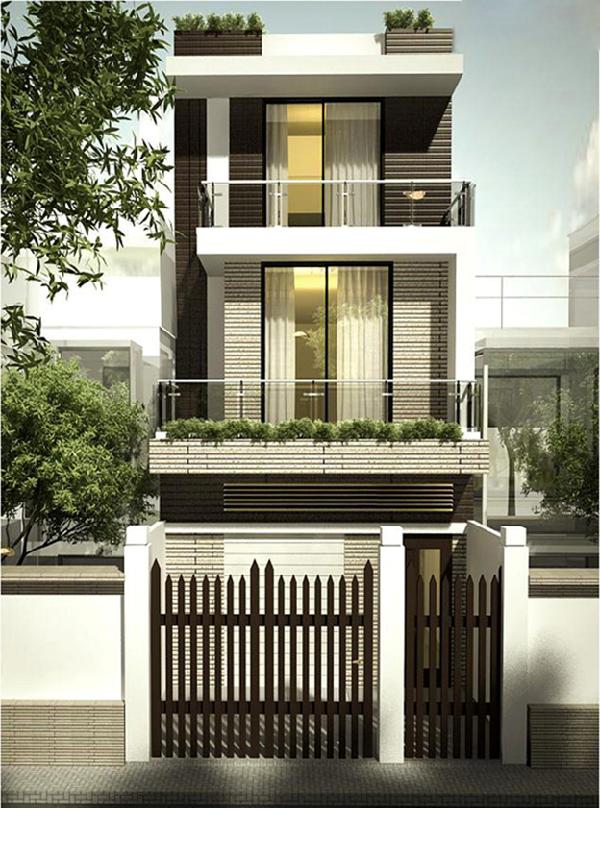 Những mẫu nhà phố đẹp 2 tầng với cửa gỗ