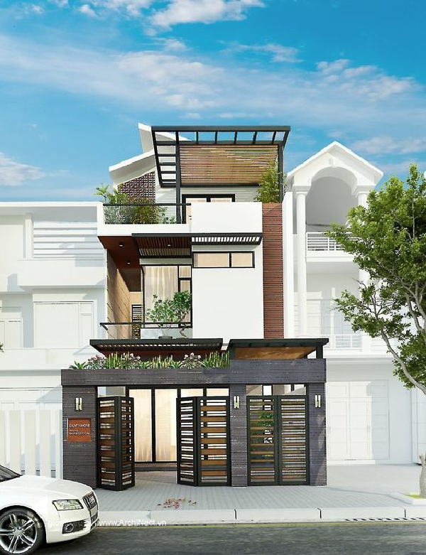 Những mẫu nhà phố đẹp 1 tầng có sân thượng thiết kế mái che