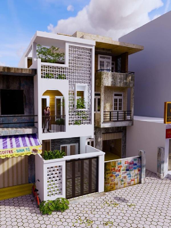 Công trình nhà màu trắng nổi bật, được xây dựng theo kiến trúc độc đáo, vừa cổ kính vừa hiện đại