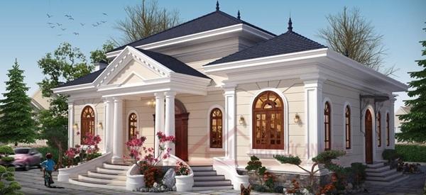 Căn biệt thự được thiết kế có cấu trúc đơn giản, rộng thoáng, tạo cảm giác thoải mái, dễ chịu