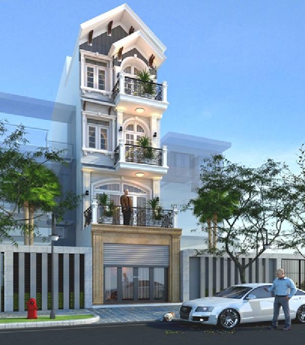 Mẫu nhà phố mái thái được thiết kế gồm 4 tầng rộng thoáng, được thiết kế theo phong cách cổ điển sang trọng