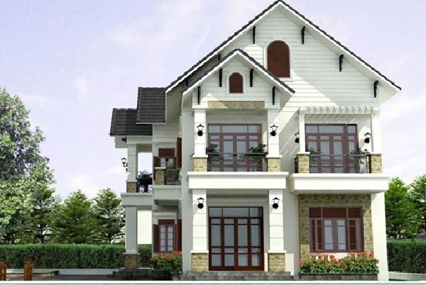 Mẫu biệt thực màu trắng kết hợp cửa gỗ tạo nên sự mới lạ, độc đáo cho tổng thể kiến trúc công trình