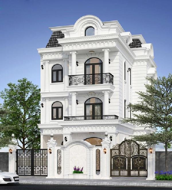 Mẫu biệt thự 3 tầng màu trắng, sang trọng, được thiết kế và xây dựng tỉ mỉ từng chi tiết tạo nên một công trình hoàn hảo