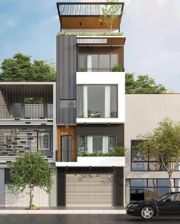 Mẫu nhà phố này gồm 1 tầng trệt, 3 tầng lầu và 1 sân thượng, rất thích hợp với những gia đình đông thành viên